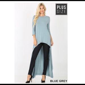 Zenana Blue High Low Top Plus Size